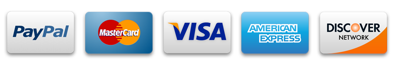 We accept PayPal, MasterCard, Visa, American Express and Discover.
