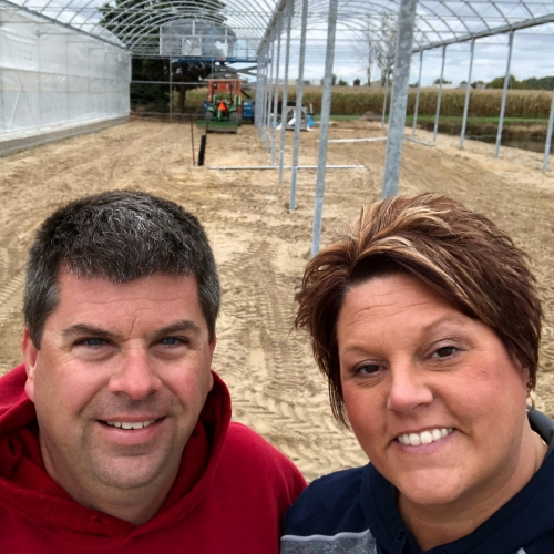 Rod and Heidi in new greenhouse
